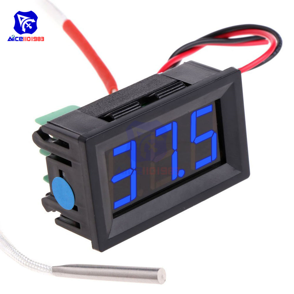 55-125 Celsius Degree Probe Thermometer 0.56/'/' DC LED Temperature Monitor Meter