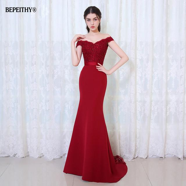 BEPEITHY Robe De Soiree Mermaid Burgundry Long Evening Dress Party Elegant Vestido De Festa Long Prom Gown With Belt