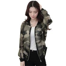 CharmDemon 2016 Women Stand Collar Long Sleeve Zipper Camouflage Printed Bomber Jacket at24