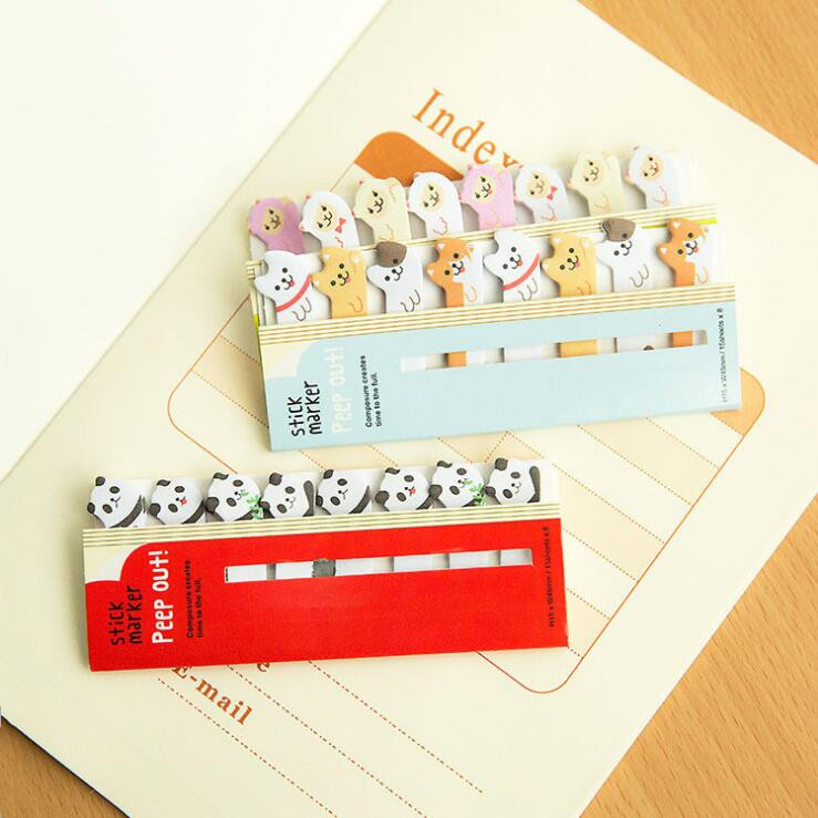 120 Sheets Korean Kawaii Cartoon Animal Paper Bookmark Decorative File Notebook Book Sticky Memo Marker Point Flags Stationery