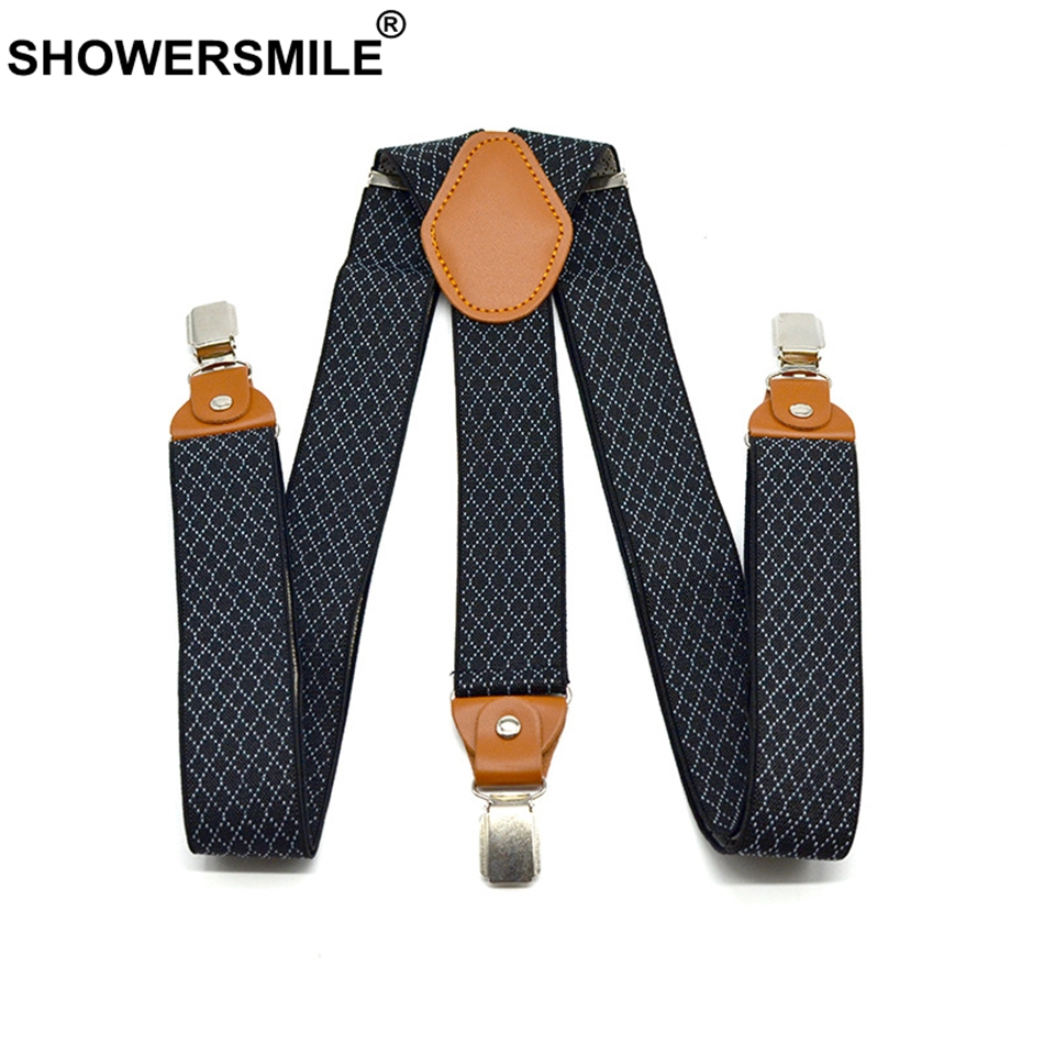 SHOWERSMILE Plaid Suspenders Men Business Y Back Braces Straps 3.5cm Wide Suspenders Clips 3 Mens Trouser Belt Black Suspender