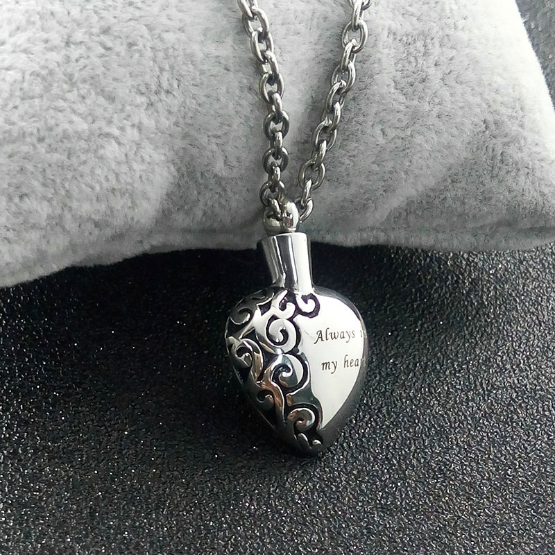 Stainless Steel Love Heart Necklace Memorial Cremation Ashes Urn