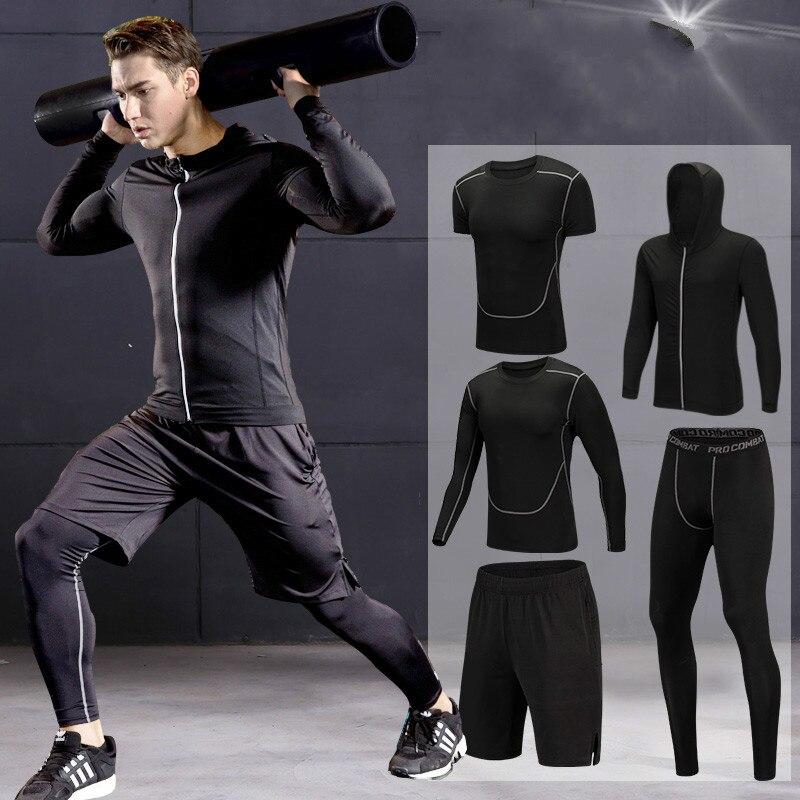 2018 rápido seco hombres de conjuntos 3/4/5 unids/set de compresión de trajes de deporte baloncesto medias ropa gimnasio fitness Jogging ropa deportiva