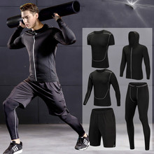 2019 Quick Dry Mens Running Sets 3/4/5pcs/sets Compression Sport Suits Basketball Tights Clothes Gym Fitness Jogging Sportswear