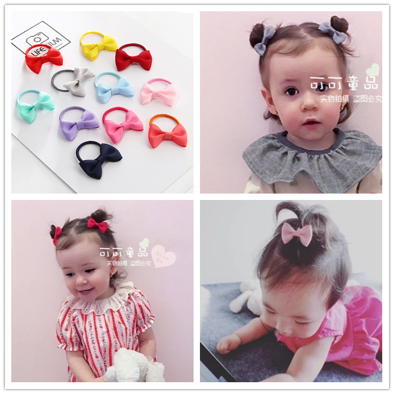 2Pcs/lot grosgrain ribbon Bow with elastic hair bands kids hair accessories Mini Bow hair accessories bebe Girls' Hair ropes grosgrain ribbon kids boutique hair bow alligator clip toddlers elastic hair rubber bands hair ties girls hair accessories z21