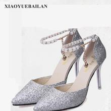 Fashion Slim Heel High Shallow Pointed Hollow Sexy Thin Beaded High heeled Shoes Single Shoes