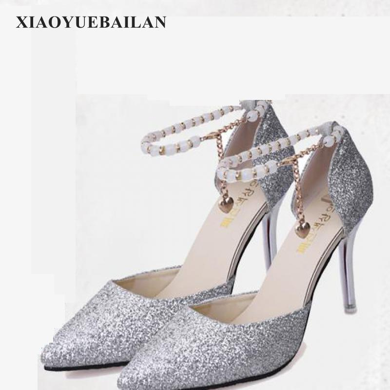 Fashion Slim Heel High Shallow Pointed Hollow Sexy Thin Beaded High heeled font b Shoes b