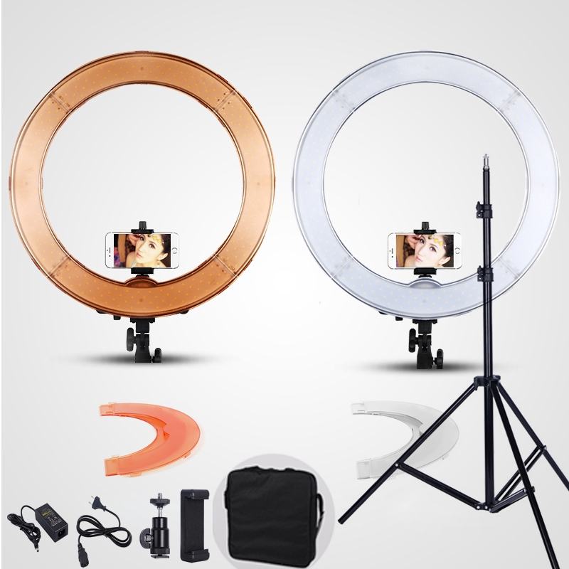 DEEP Camera Photo Studio Phone Video 18inch 55W 240PCS LED Ring Light 5500K Photography Dimmable Ring Lamp With 200CM Tripod fotopal led ring light for camera photo studio phone video 1255w 5500k photography dimmable ring lamp with plastic tripod stand