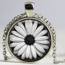 Daisy Necklace Glass Tile Jewelry Flower Necklace Flower Jewelry Daisy Pendant HZ1