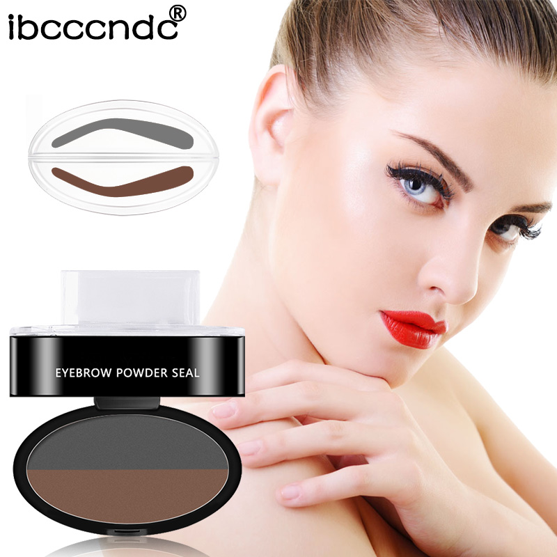Beauty Essentials Eyebrow Stamp Seal Palette Set Two Color Shadow Powder Waterproof Eye Brow Stamp Powder Natural Shape Eyebrows Powder Palette