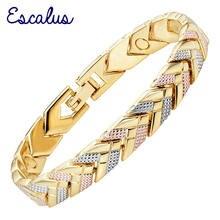 Женский браслет escalus магнитный 3 тона золотой цвет