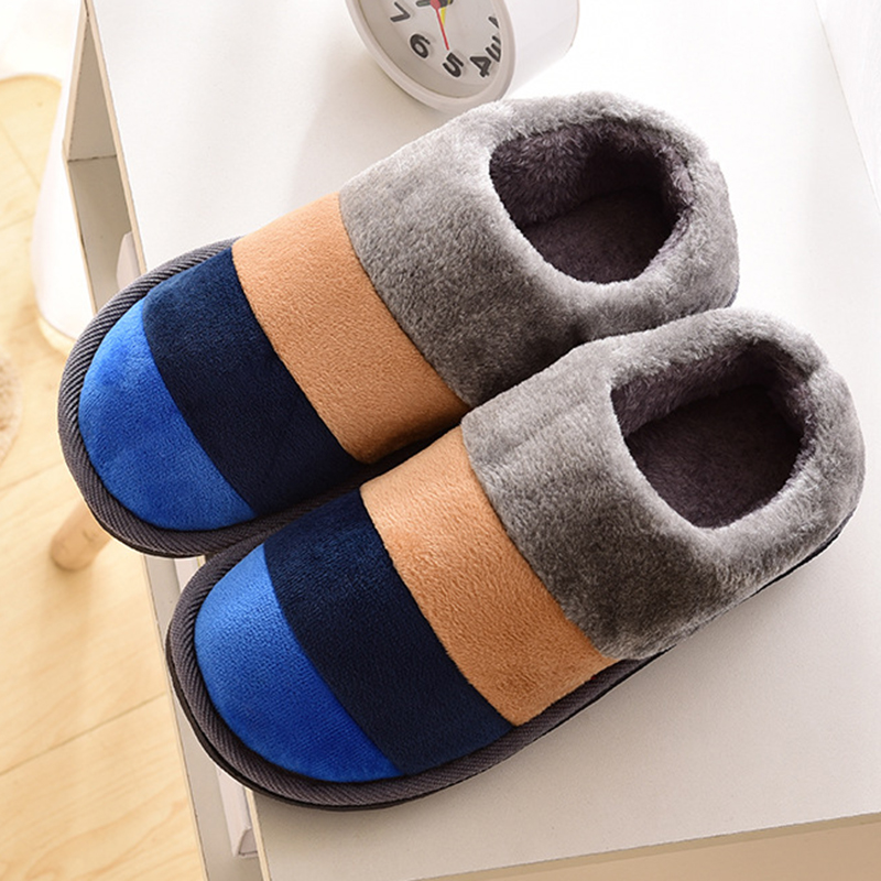 Slippers Women Winter Warm Fur Home Slippers Female Slippers Cotton Sheep Lovers Indoor Plus Size Striped Color Shoes Woman