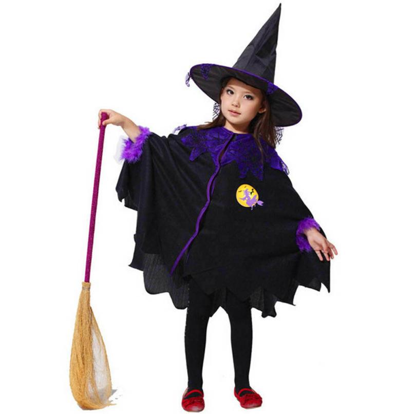 2017 Black Toddler Kids Girls Halloween Clothes Costume Dress Party Cloak+Hat Outfit childrens Halloween gift cheap p35 Dec25