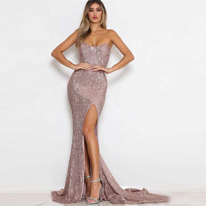a6ddb6cce27 ... Tobinoone Sexy Elegant Women Maxi Dress Shining Long Clubwear Sequin  Dress Sexy Split Off Shoulder Floor ...