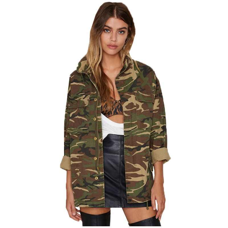 Women 2019 Spring Vintage Camouflage Army Green Zipper Button Jackets Blouses Outwear Coats Blouses female Jacket Wholesale Y298