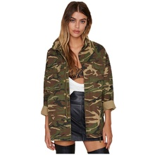 Women 2019 Spring Vintage Camouflage Army Green Zipper Butto