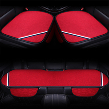 O SHI CAR Three-piece Car Seat Cushion Artificial Linen Fabric Universal Seat-cover Mat Simple And Comfortable Square Pad