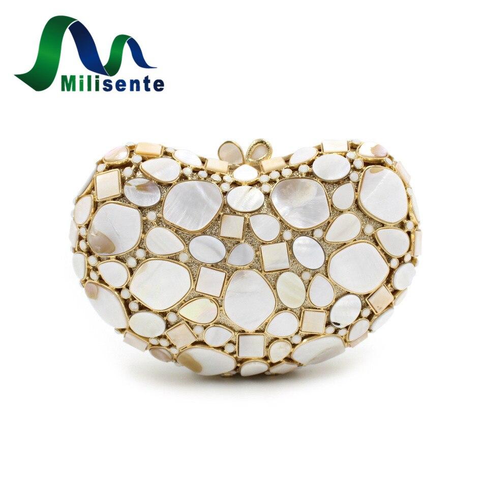 ФОТО Milisente Women Designer Crystal Heart Shape Shell Real Evening Bag Party Handbags Wedding Purse Lady Clutches Silver Black Gold