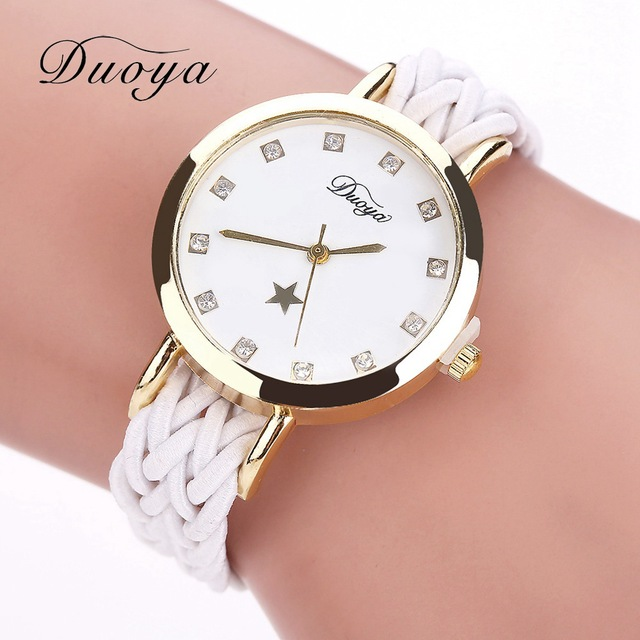 Fashion Weave Leather Watches Women Gold Rhinestone Wristwatch Casual Ladies Bra