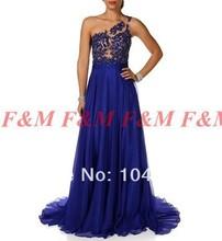 2016 neue Mode Sexy Chiffon Royal Blue Schulter Spitze Applique Lange Abendkleider Mit Schal F & M787