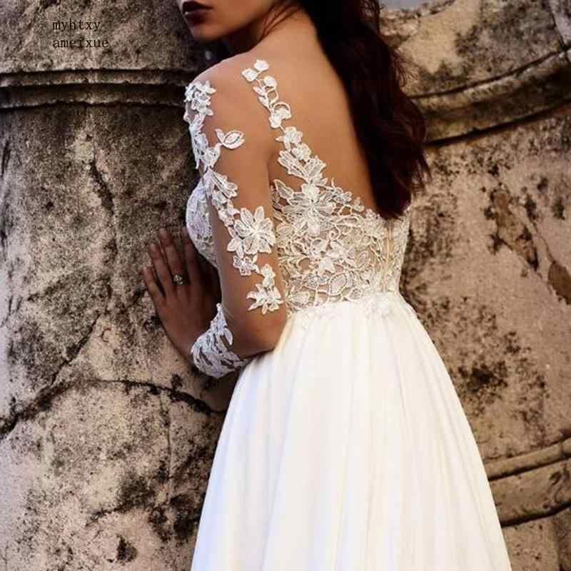 مثير بوهو رخيصة فستان الزفاف 2019 طويل الأكمام سكوب السامي سبليت الشيفون يزين الرباط عودة فتح فستان عروس رداء دي Mariee