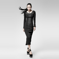 PUNK RAVE Gothic Black Sexy Sheath Full Sleeve Summer Dress With A Big Fork In The