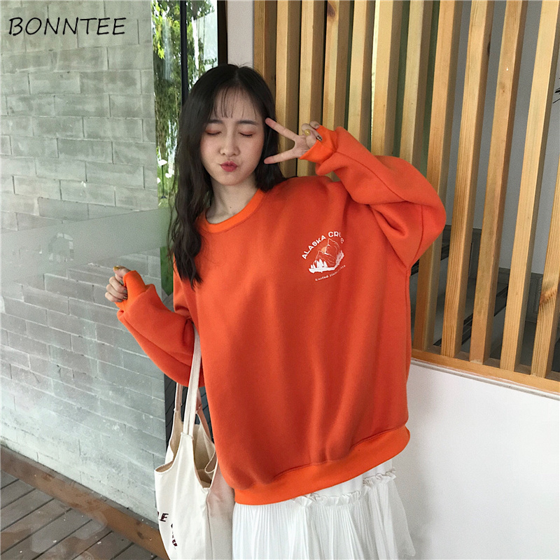 Hoodies Women Thicker Plus Velvet Solid Print Loose Oversize Long Style Womens Hoodie Leisure Trendy Chic All-match Simple Soft