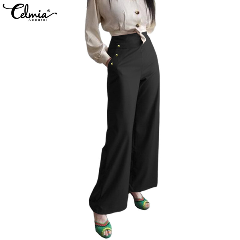 2019 Celmia Elegant Women   Wide     Leg     Pants   Ladies Buttons Casual Loose Office Trousers High Waist Work Palazzo Plus Size Pantalone