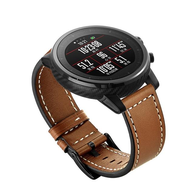 SIKAI 22mm Genuine Leather Watch Band Bracelet For Huami Amazfit Stratos 2 Strap