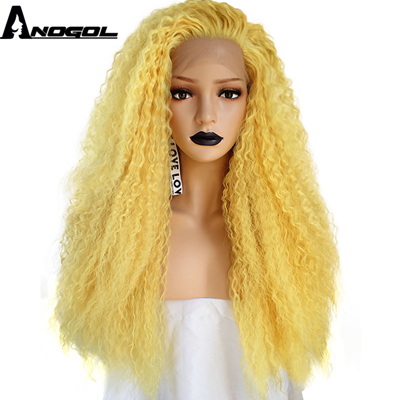 Anogol Yellow Orange Free Part High Temperature Fiber Natural Long Kinky Curly Synthetic Lace Front Wig