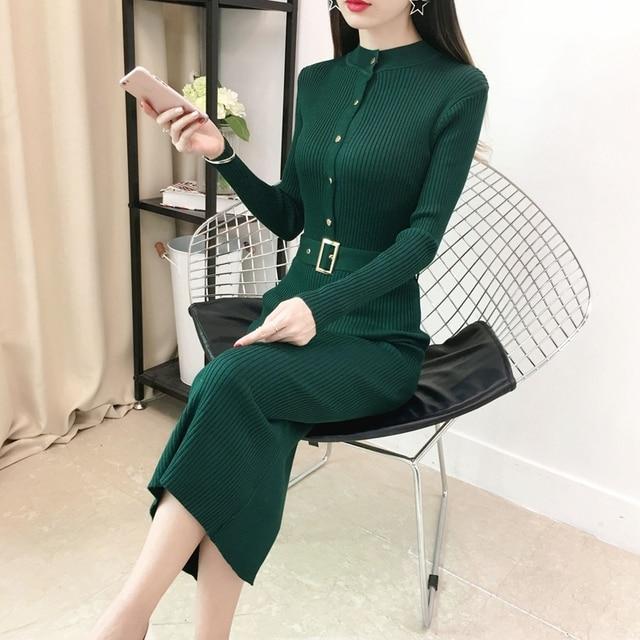 750871ce026 New 2018 Elegant Women Winter Knitted Sweater Dress Long Sleeve Autumn Slim  Button Basic Long Dresses Back Split Ladies Vestidos