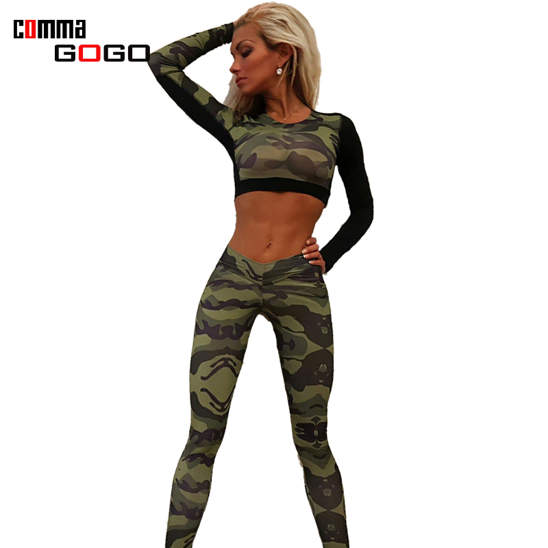 Two Pieces Outfits 2017 Jumpsuit Women Sexy Camouflage Romper Bodycon Workout Jumpsuits Long Sleeve Sexy Midriff Long Pants Suit