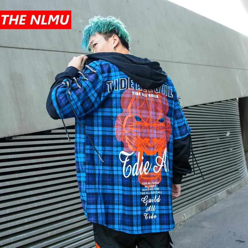 Plaid Shirts Men Hip Hop Long Sleeve Hooded Shirt Male Punk Style Creative Printed Shirt False Two Piece Streetwear Coats GW006