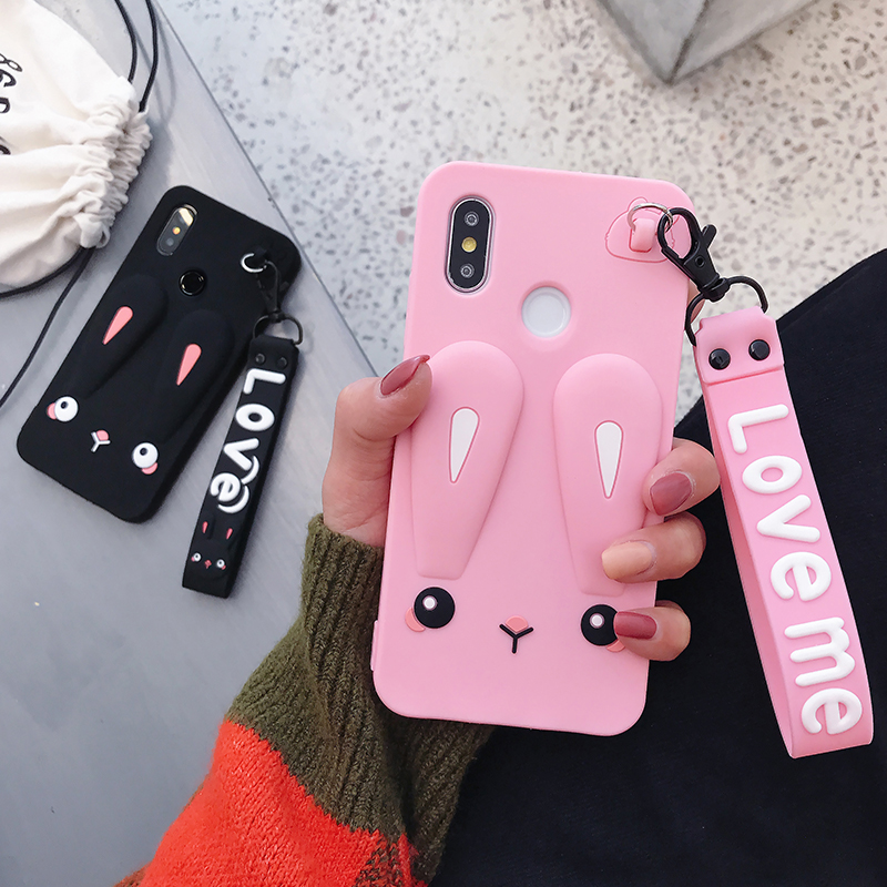Adorable Phone Case For Xiaomi Max 2 3 Mix 2s Safe Silicone Rabbit With Cute Short + Long Lanyard
