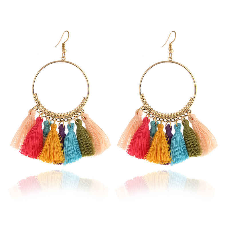 New 20 colors Ethnic Bohemian Drop Dangle Long Rope Fringes Retro Tassel Earrings Red Sector Earrings for Women Party Jewelry