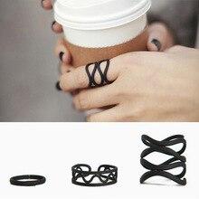 3PCS /Set Black Punk Spiral  Ring Set Women Plain Above Knuckle Midi Finger Tip Rings Girl Fashion girls Jewelry