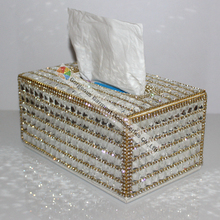 100% Handmade Luxury Clear Crystal Rhinestone Tissue Holder Napkins Box  Gold Sliver For Selection Car 9ee576635ad8