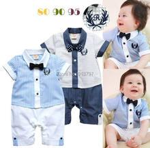 Retail New Boy Gentleman Romper Baby Short Sleeve One-pieces Jumpsuits 13206