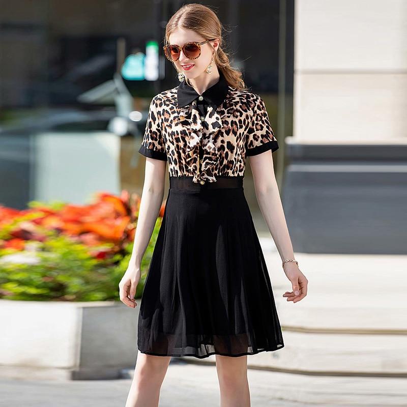 XF 2019 SpringSummer Fashion Designer Women'S Dress Medium Long Leopard High Waist Casual Milan Runway Dress