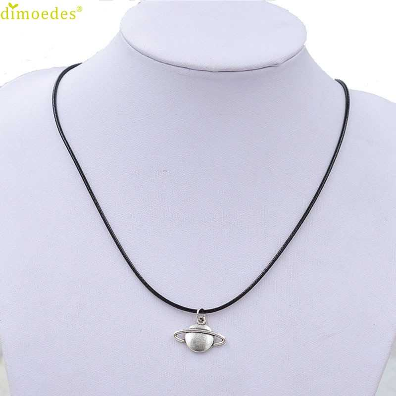 Diomedes Newest Creative Necklace New Retro Saturn Necklace Pendant Black Leather Cord Choker Charm Gift Accessories Sexy Chain