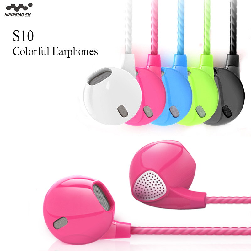 HONGBIAO SM S10 Intelligent Earphones with Microphone 35mm stereo Colorful Candy Sports Noise Cancelling in ear Earbuds