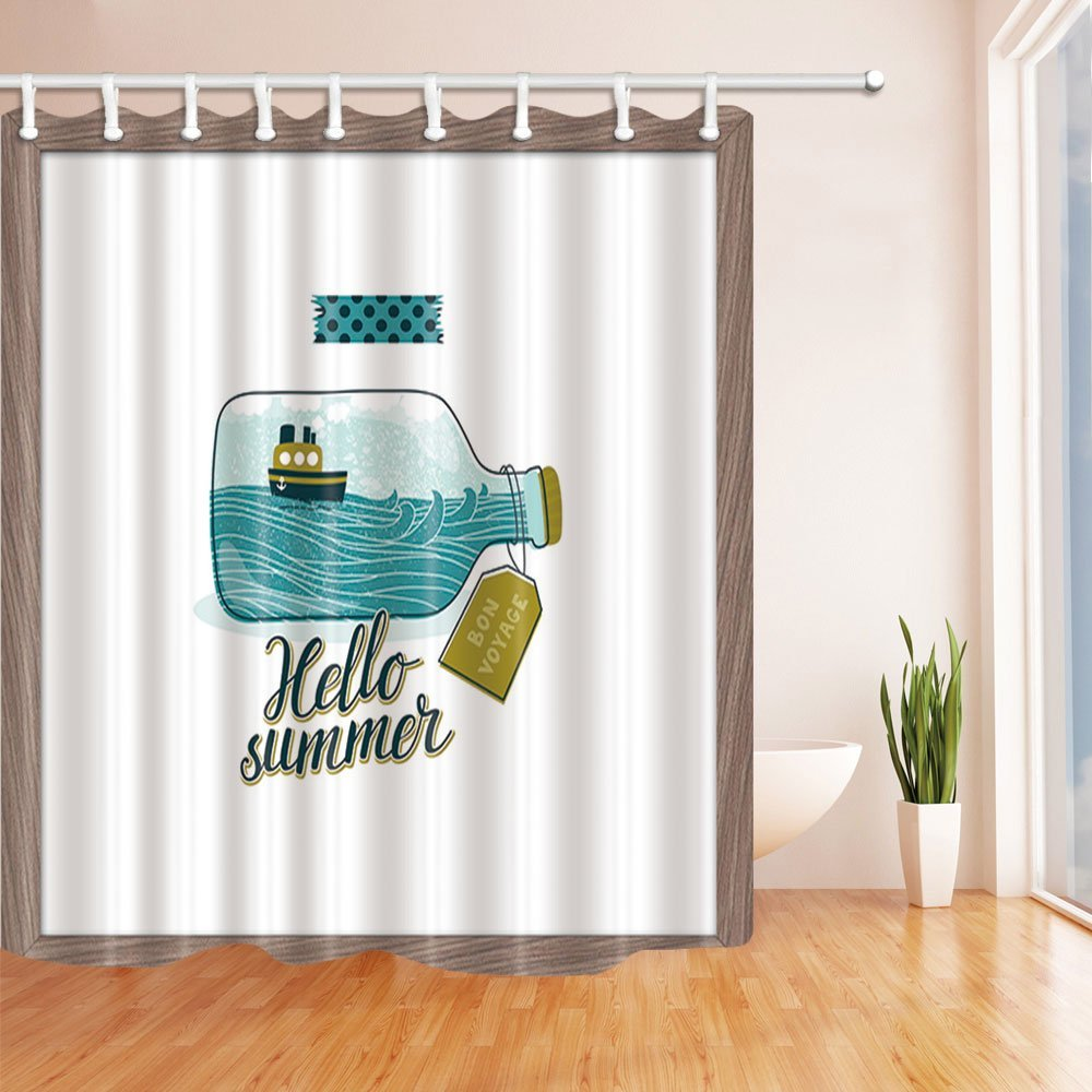 Summer Decor, Ship on the Waves in Drifting Bottle Shower Curtain, Bath Curtains Hooks Included