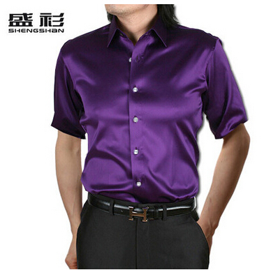 ZOEQO, новинка, брендовая летняя стильная Высококачественная шелковая мужская рубашка с коротким рукавом, повседневная мужская рубашка, camisa masculina camisas hombre - Цвет: 11 purple