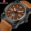 Мужчины кварцевые часы NAVIFORCE бренд моды для мужчин спортивные часы кофе кожа 30 М водонепроницаемый авто дата наручные часы relógio masculino