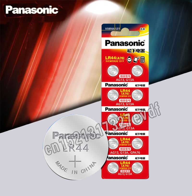 Panasonic 10pcs 1.5V Button Cell Battery Lr44 Lithium Coin Batteries A76 AG13 G13A LR44 LR1154 357A SR44 100% Original
