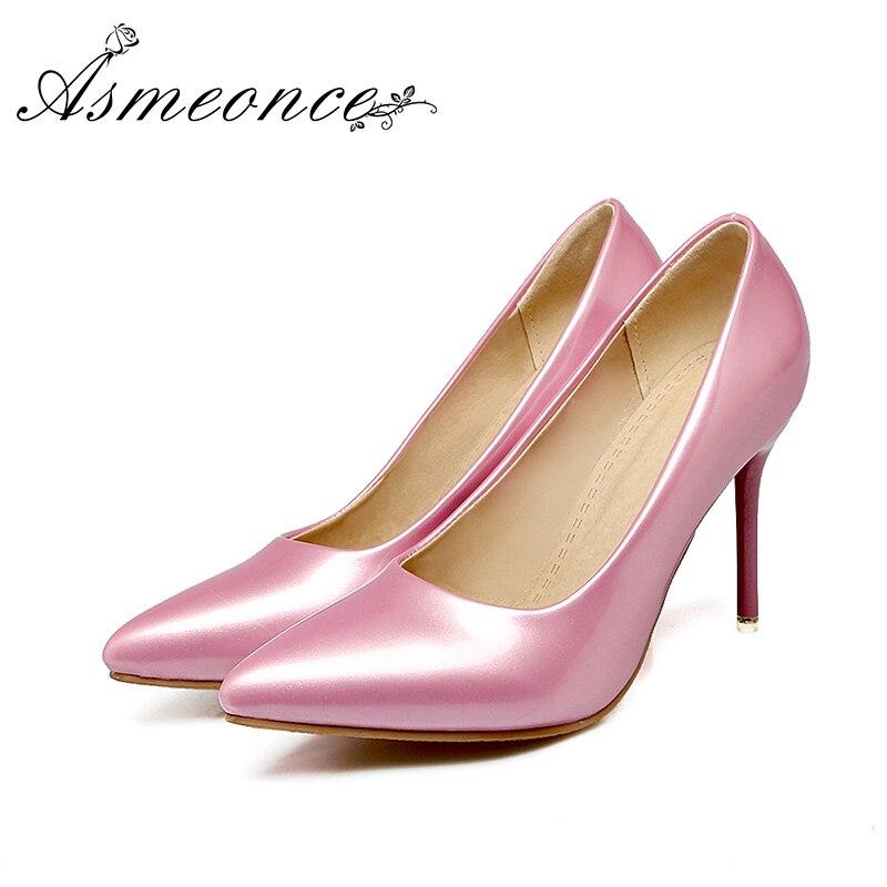 green Señora Sexy Punta red pink Bombas Mujeres De Casual White Moda Brillante Delgados Zapatos En Color Tacones Sólido Elegante Oficina Tamaño Partido Más black zEx17qw
