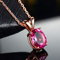 2.3ct Natural Pink Topaz 925 Sterling Silver Necklaces for Women High Quality Water Drop Prong Setting Necklace for Party