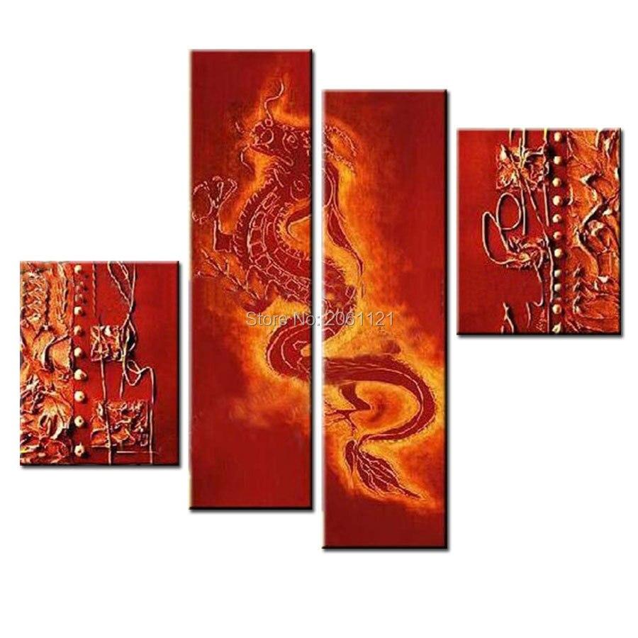 Peinture murale sur toile faite à la main peinture à l'huile de dragon rouge photos de dragons chinois traditionnels