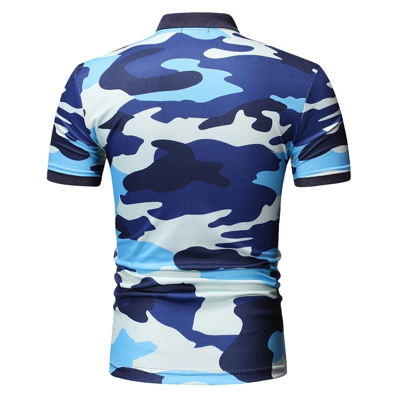 Camouflage Summer Tops Men Polo Shirt Men 39 s Clothing Casual Tees Polo Shirt Men Short sleeve Lapels Blue Army Green New in Polo from Men 39 s Clothing