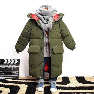 Image 2 -  30 학위 2020 어린이 겨울 아래로 코 튼 자 켓 아기 소녀 파 카 키즈 따뜻한 겉옷 두건 된 코트 snowsuit 오버 코트 소년 옷